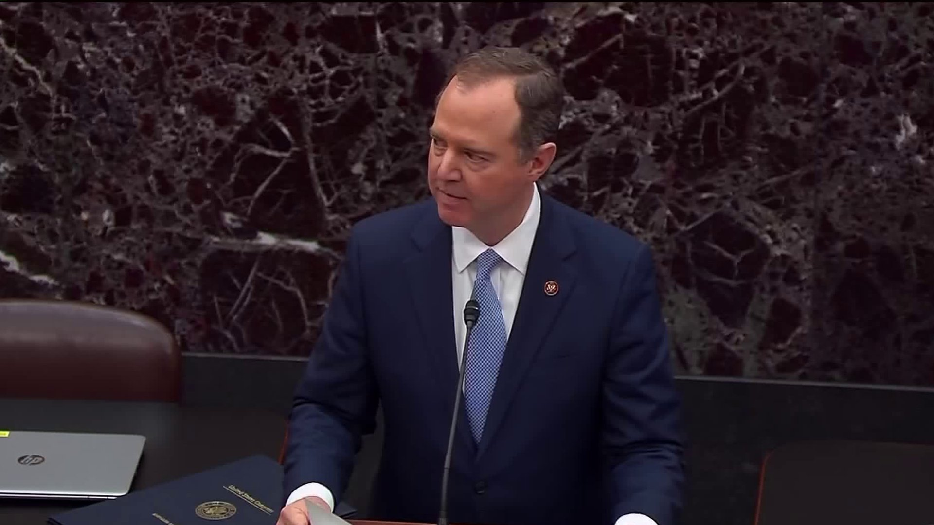 Rep. Adam Schiff of Burbank reads the charges against President Trump as the impeachment trial gets underway in the U.S. Senate on Jan. 16, 2020. (Credit: CNN)