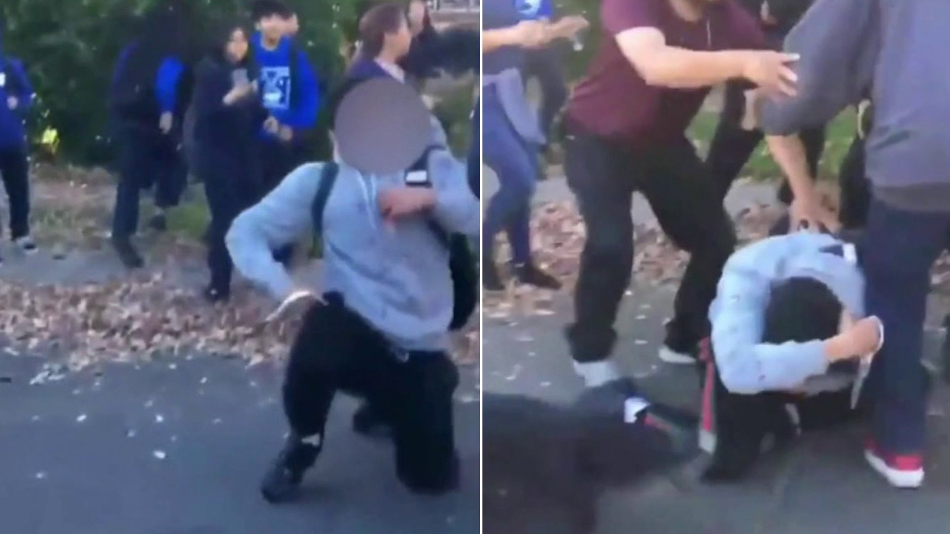 Cellphone video shows a person holding a sharp object during a brawl outside Mulholland Middle School in Lake Balboa on Jan. 24, 2020.