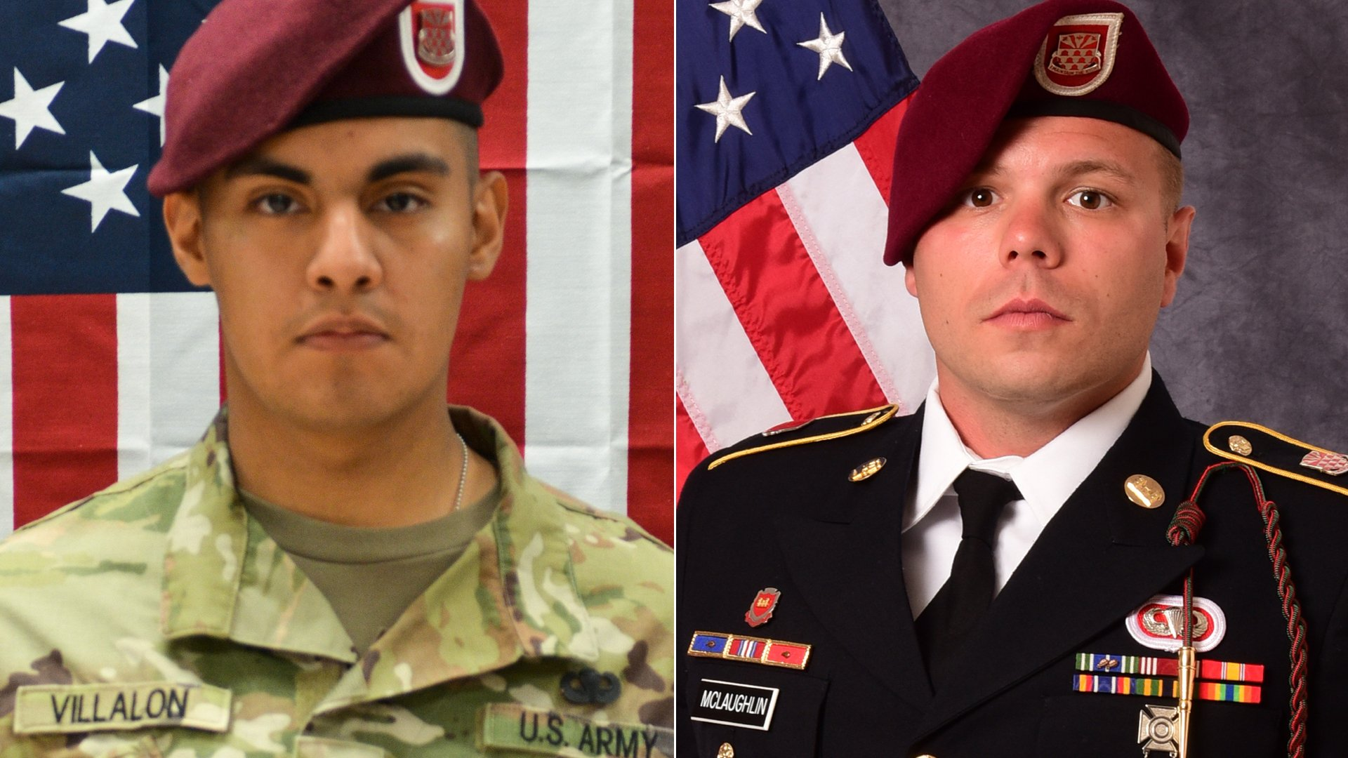 Pfc. Miguel A. Villalon, left, and Staff Sgt. Ian P. McLaughlin appear in images released by the U.S. Department of Defense on Jan. 12, 2020.