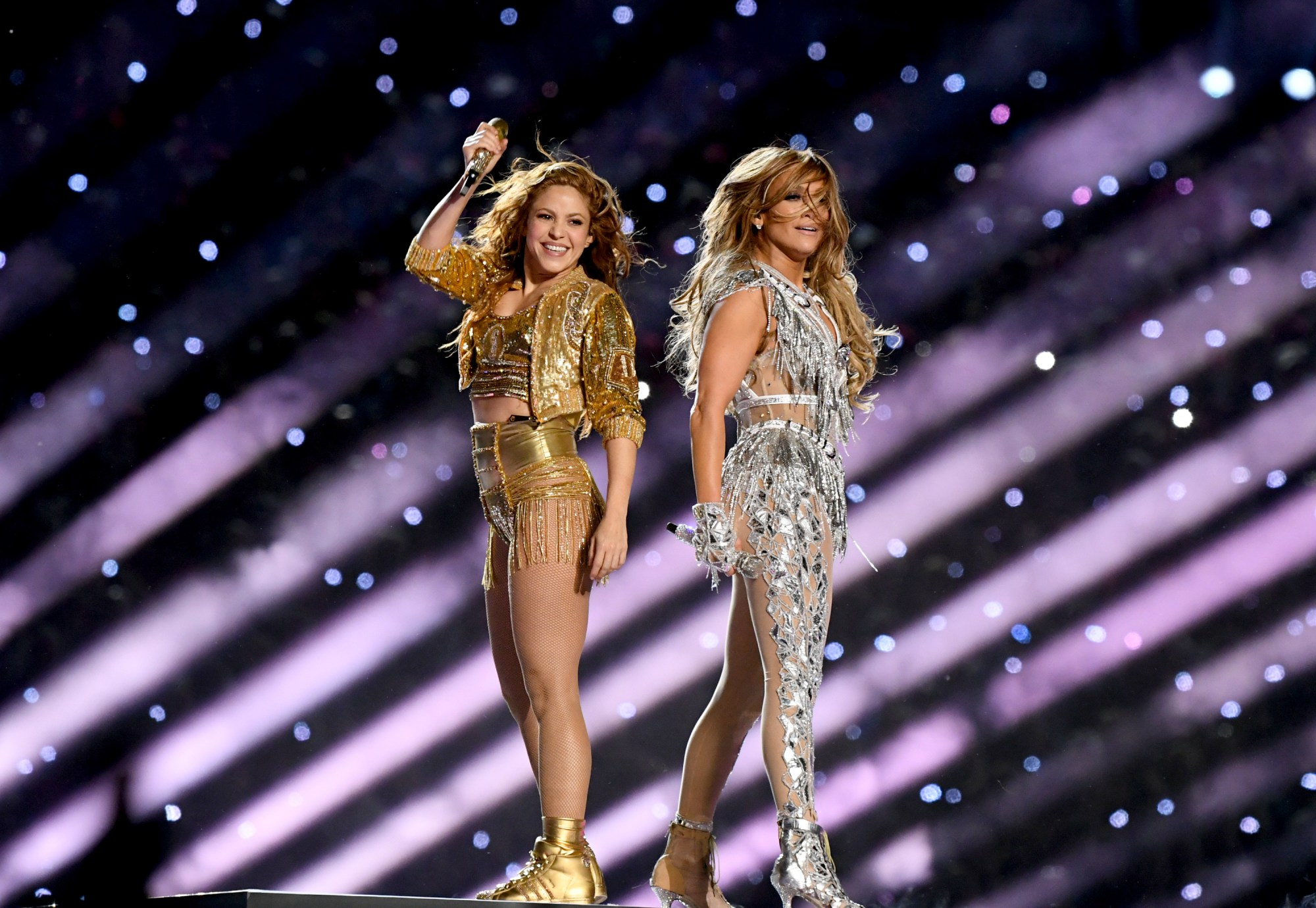 Shakira (Left) and Jennifer Lopez perform onstage during the Pepsi Super Bowl LIV Halftime Show at Hard Rock Stadium on February 02, 2020 in Miami, Florida. (Kevin Winter/Getty Images)
