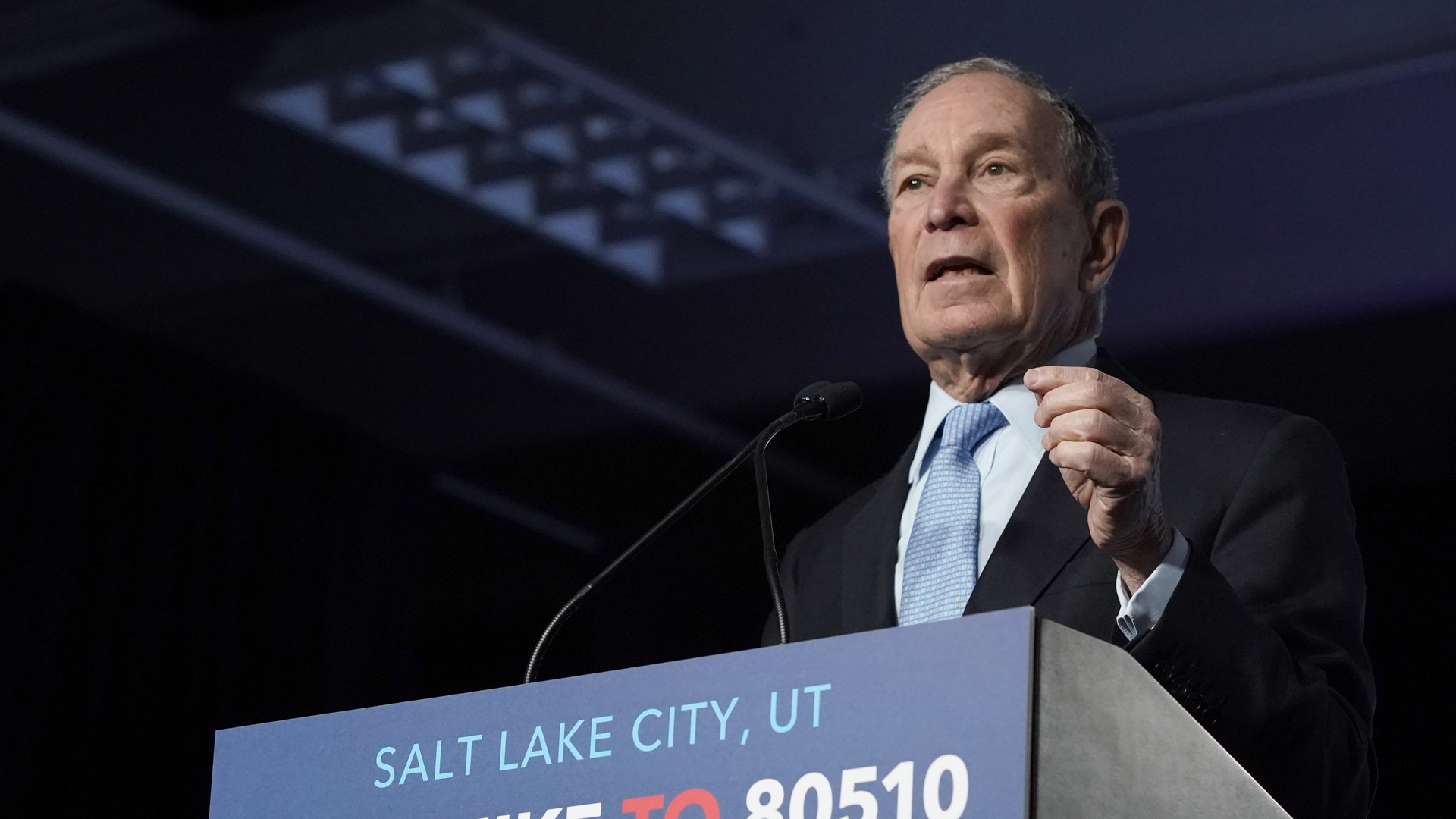 Democratic presidential candidate, former New York City mayor Mike Bloomberg talks to supporters at a rally in Salt Lake City, Utah, on Feb. 20, 2020. (Credit: George Frey / Getty Images)