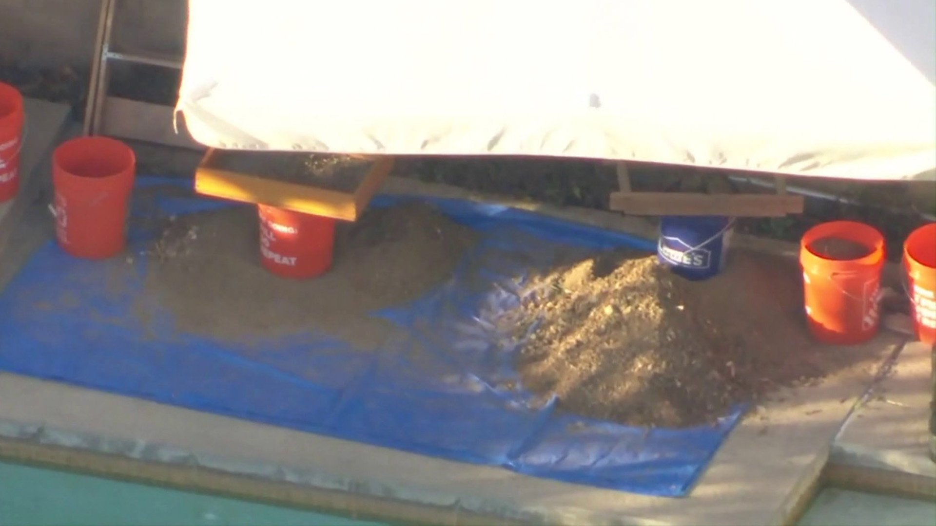 Bones were discovered buried in a backyard at a home in the 24000 block of Via Madrugada in Mission Viejo. (Credit: KTLA)