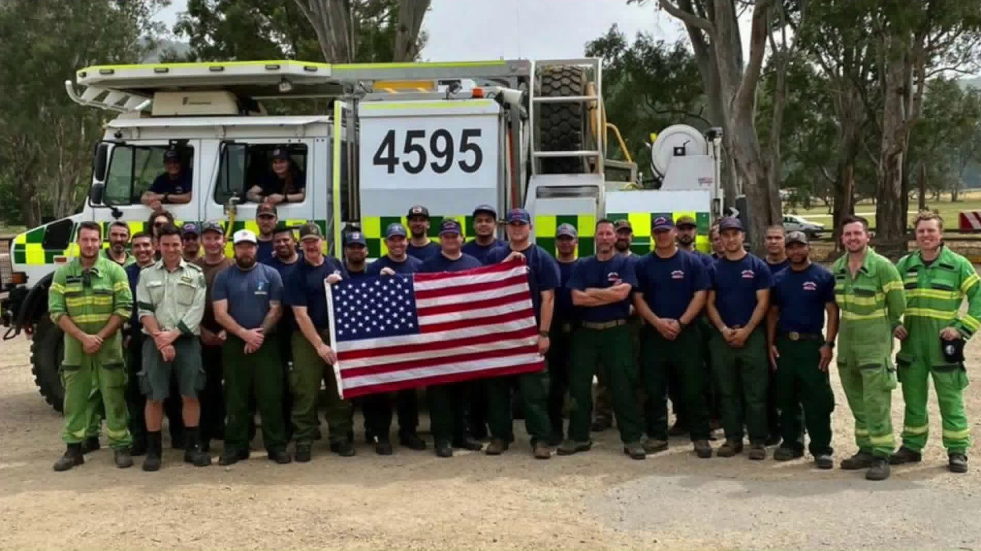 A California firefighting crew sent to Australia is seen in an undated photo provided by the Angeles National Forest on Feb. 3, 2020.