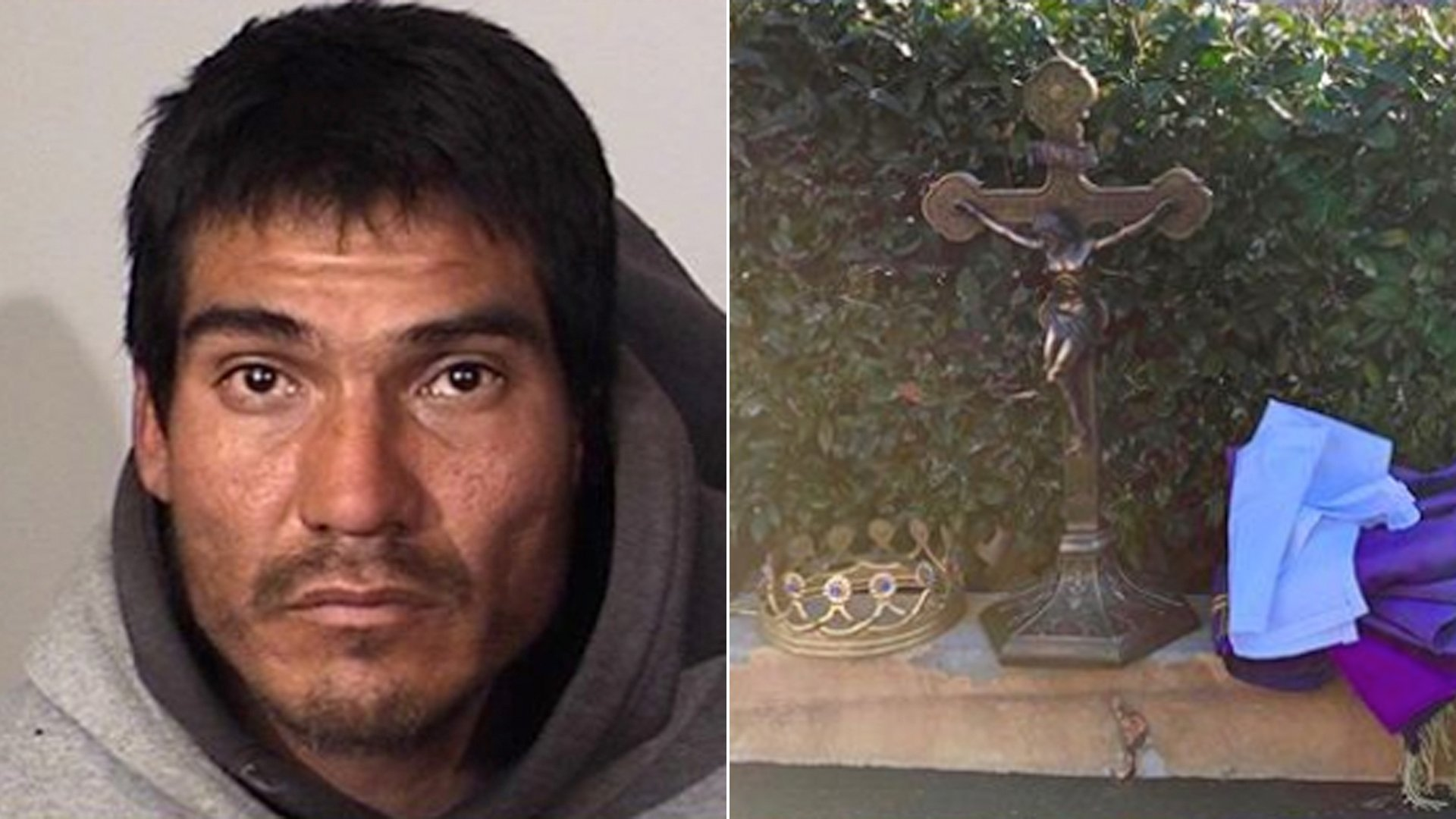 Police arrested Octavio Delgadillo, 36, of Oxnard on Feb. 15, 2020, and recovered religious antiques believed to have been stolen from a local church about a week prior. (Credit: Oxnard Police Department)
