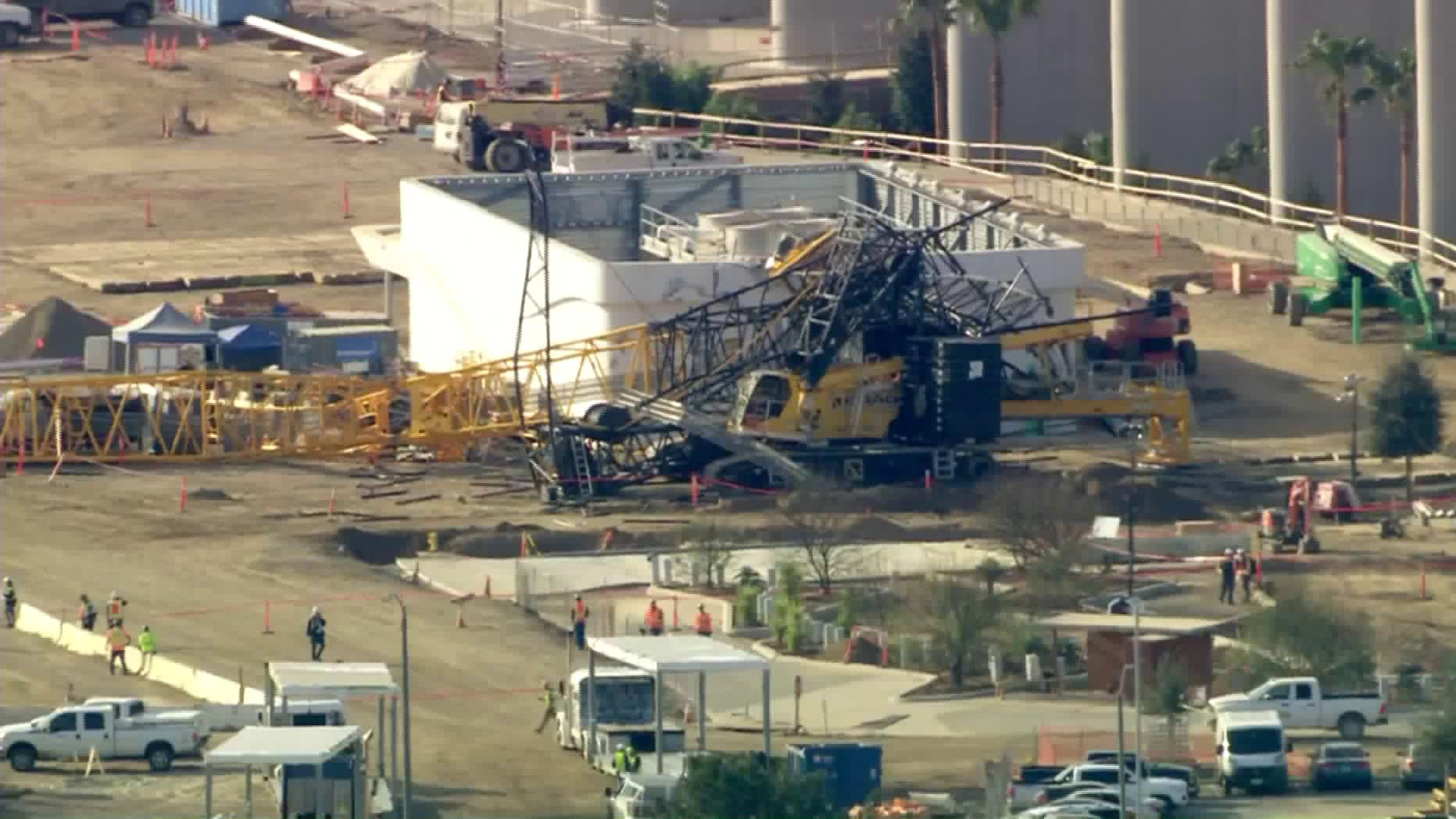 A crane collapsed outside the under-construction SoFi Stadium in Inglewood on Feb. 28, 2020. (Credit: KTLA)