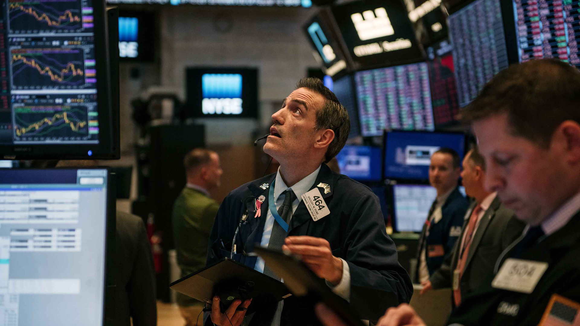 Traders work through the closing minutes of trading Tuesday on the New York Stock Exchange floor on February 25, 2020 in New York City. (Scott Heins/Getty Images)