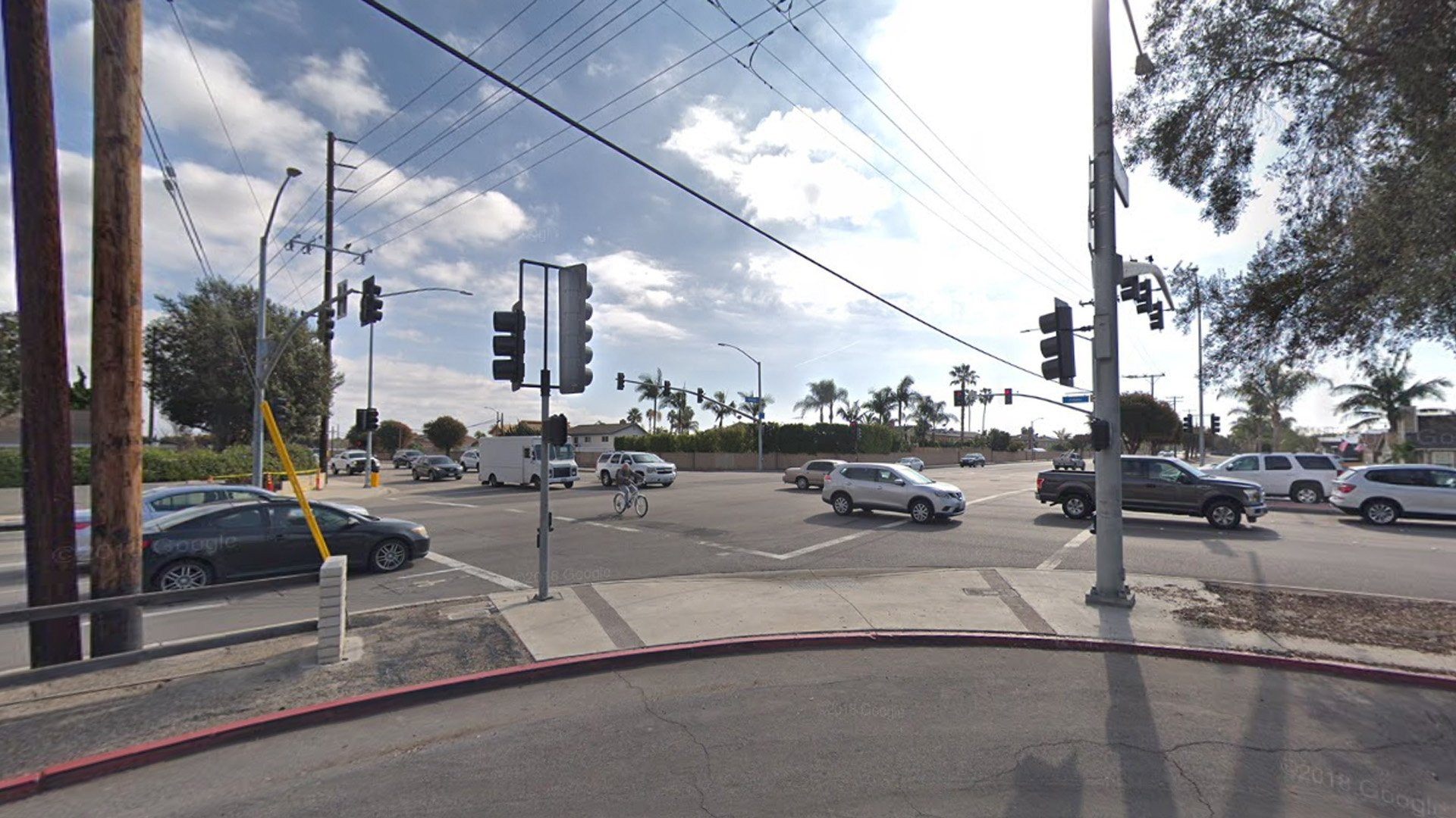 The area of Adams Avenue and Bushard Street in Huntington Beach is seen in an image from Google Maps.