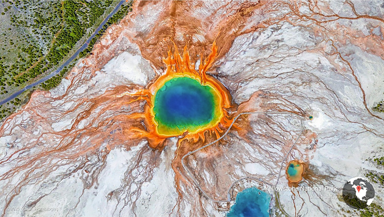 A Google Earth View of a landscape in Yellowstone National Park. (Credit: Maxar Technologies/Google)