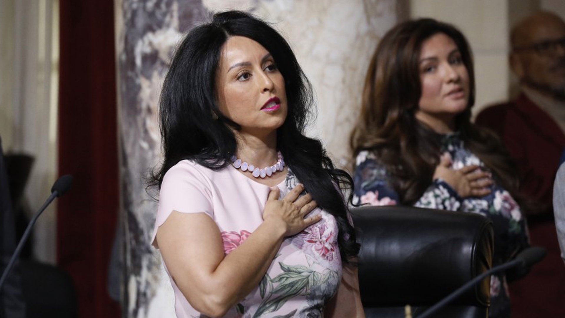 Los Angeles City Council President Nury Martinez, shown reciting the Pledge of Allegiance at a council meeting, backed the measure to ban private detention centers.(Credit: Al Seib / Los Angeles Times)