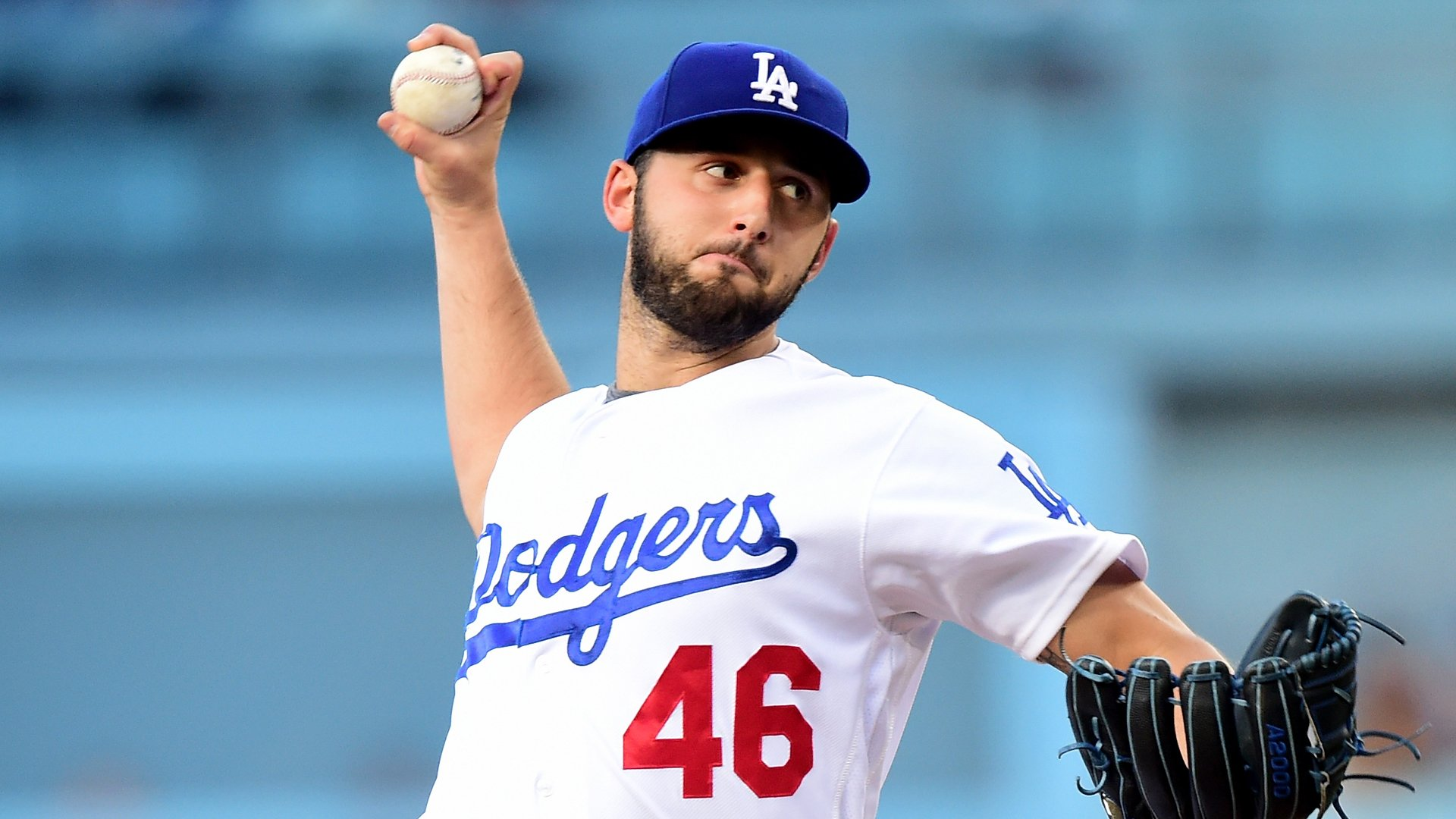 Mike Bolsinger of the Los Angeles Dodgers pitches to the Milwaukee Brewers during the first inning at Dodger Stadium on June 18, 2016. (Credit: Harry How/Getty Images)