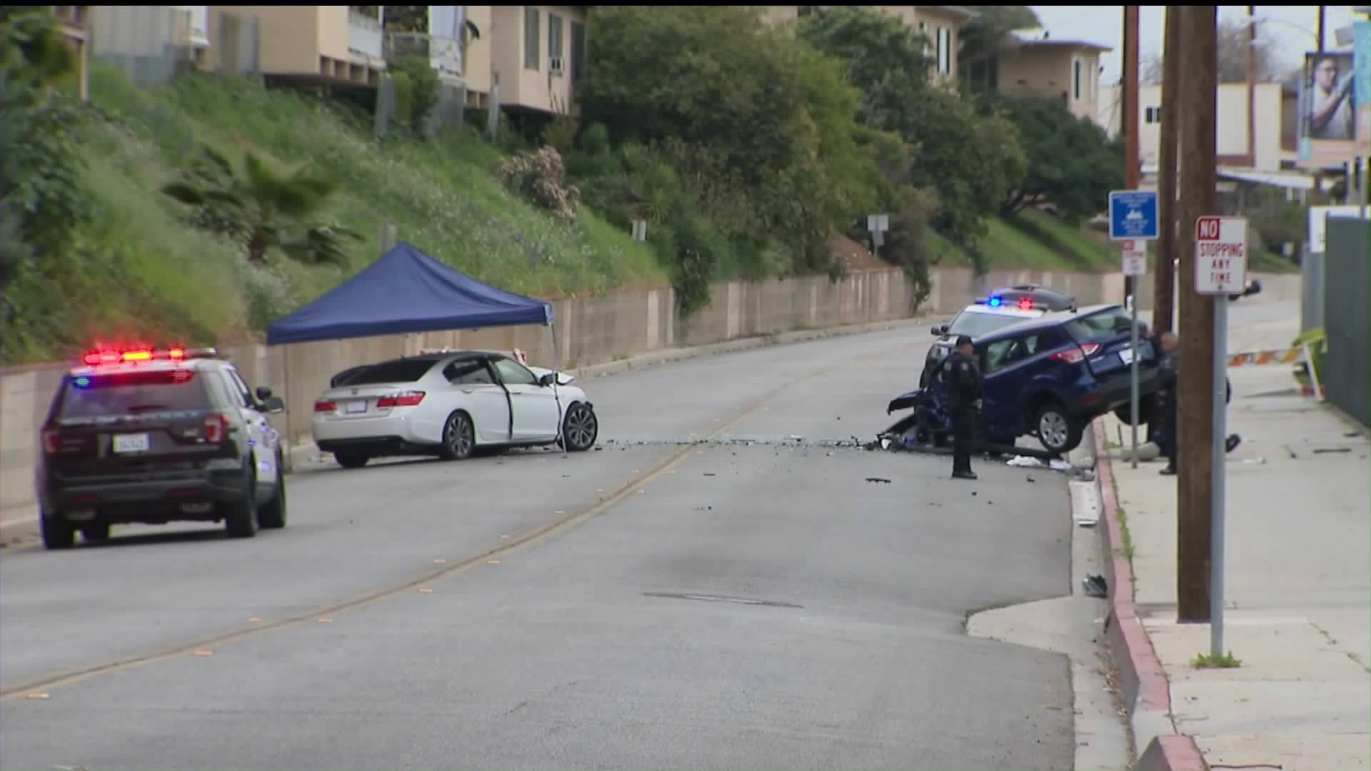 A two-vehicle crash in Monterey Park on Feb. 9, 2020, left one person dead and another injured, officials said. (Credit: KTLA)