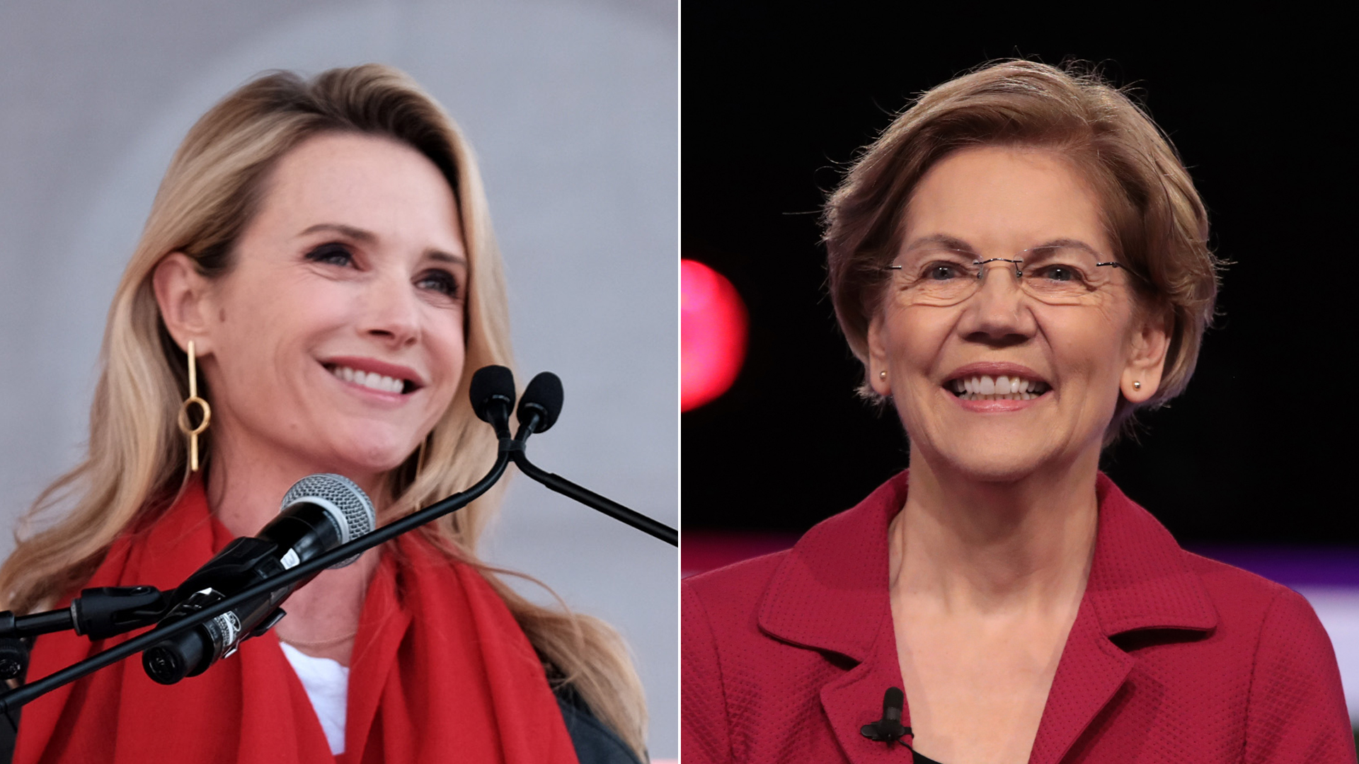 Left: First Partner of California Jennifer Siebel Newsom speaks at the 4th Annual Women's March LA: Women Rising on Jan. 18, 2020 in Los Angeles; right, Sen. Elizabeth Warren arrives at a debate Feb. 25, 2020, in Charleston, South Carolina. (Getty Images)
