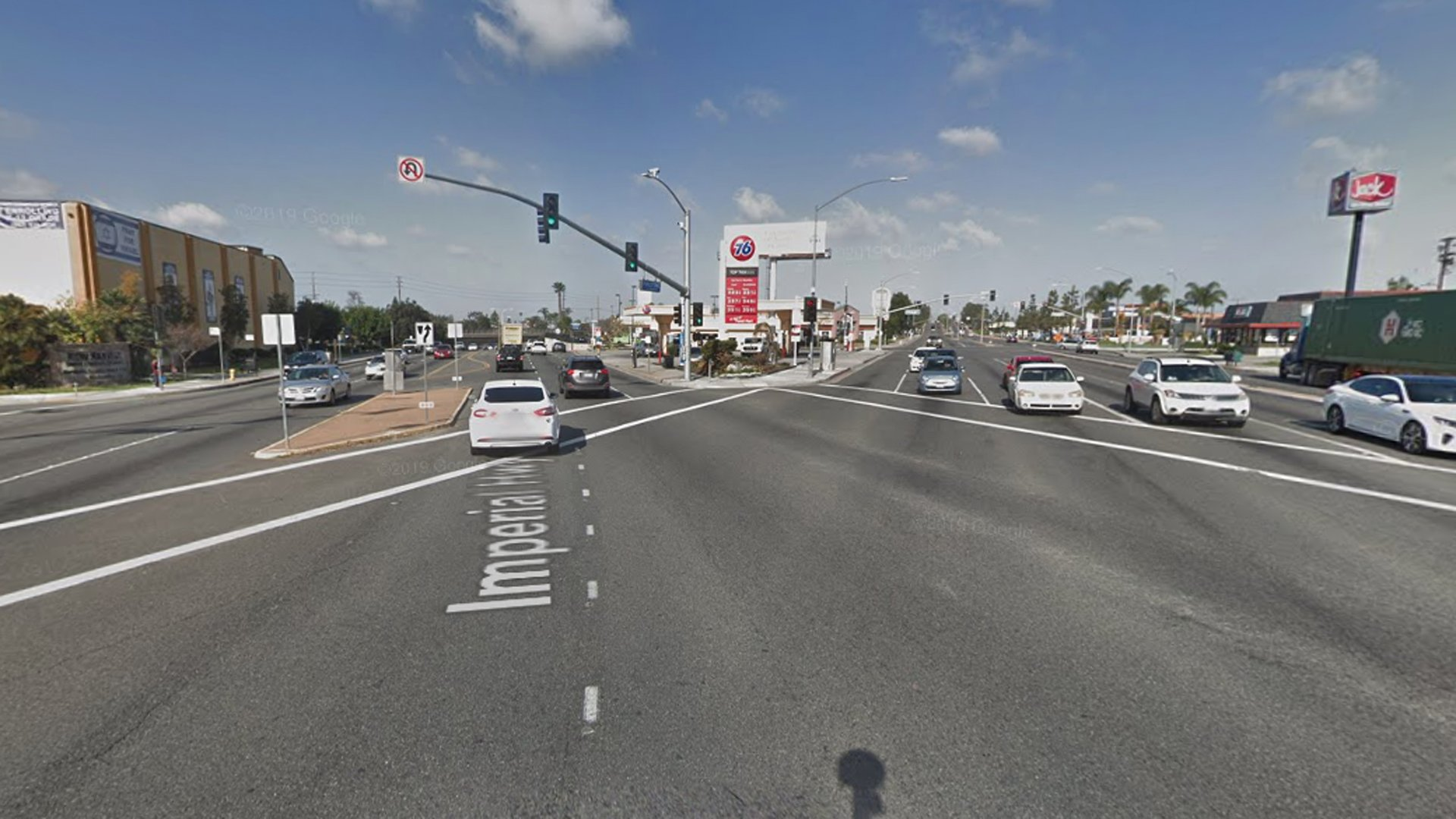 The intersection of Imperial Highway and Firestone Boulevard s shown in a Street View image from Google Maps.
