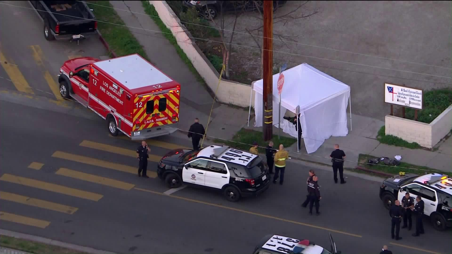Authorities respond to investigate a fatal shooting in Highland Park on Feb. 11, 2020. (Credit: KTLA)