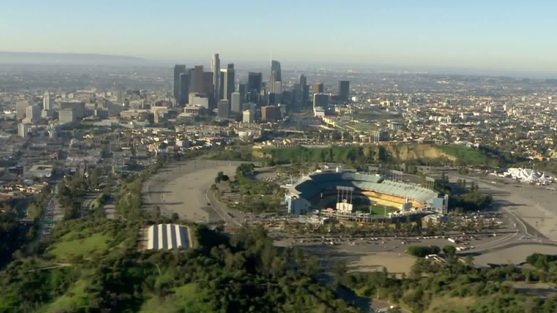 The downtown Los Angeles skyline is seen on Feb. 25, 2020. (Credit: Sky5)