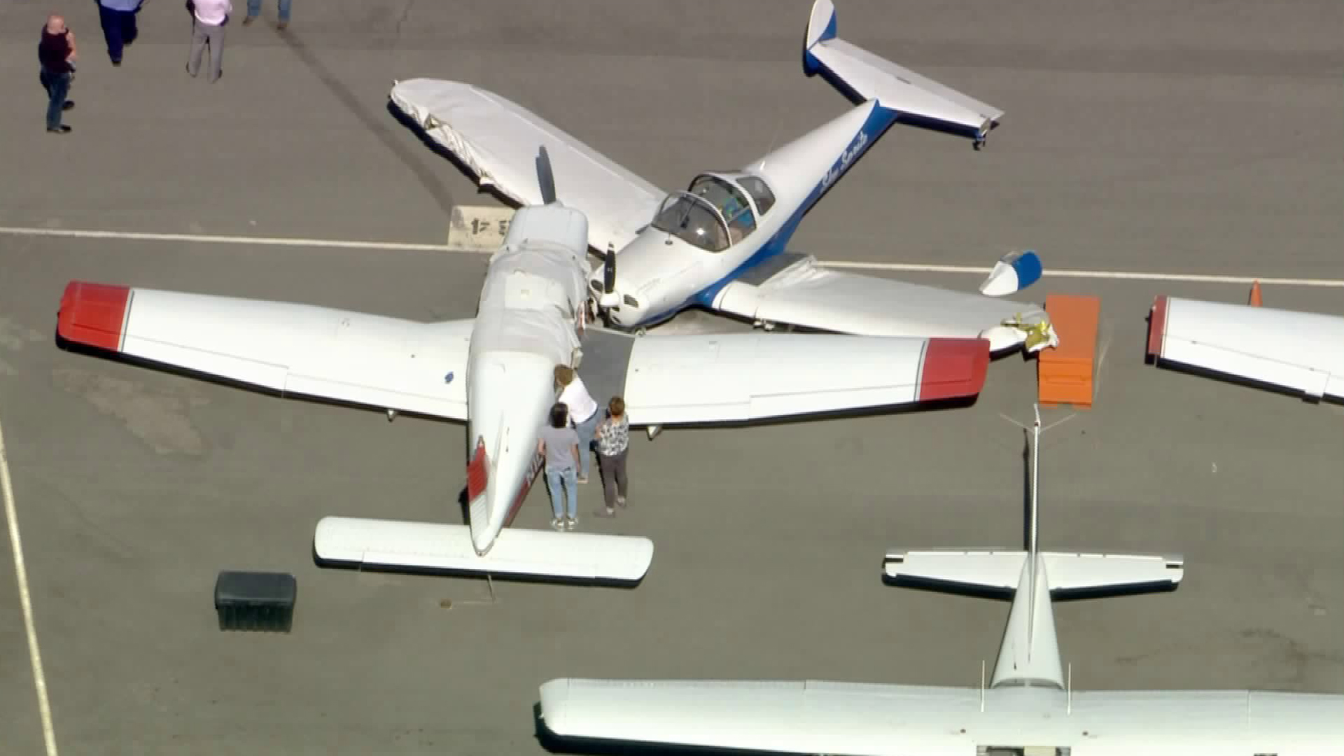 Two planes were damaged after some sort of mishap at the Torrance Airport on Feb. 25, 2020. (KTLA)