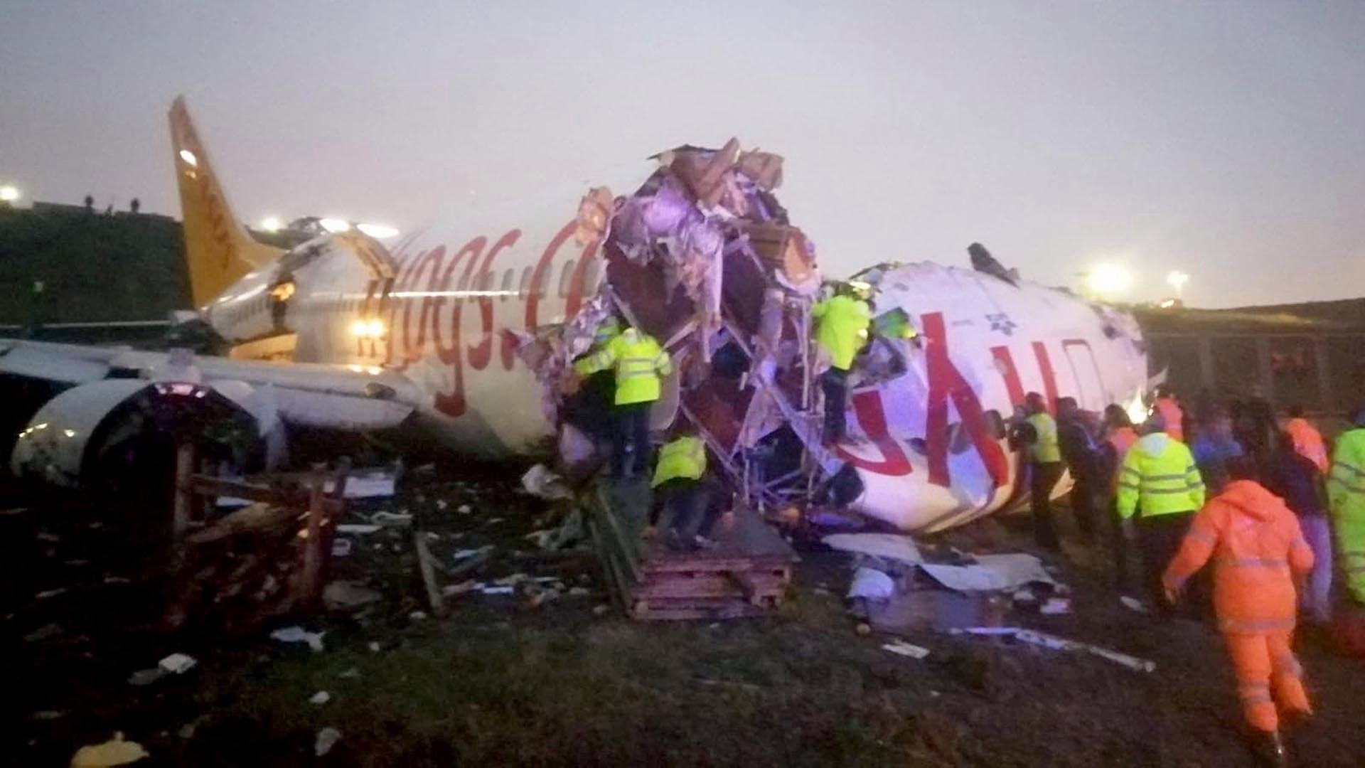 The passenger plane broke into two after skidding off the runway in Turkey on Feb. 5, 2020. (Credit: Handout/Istanbul Security Directorate/Anadolu Agency/Getty Images)