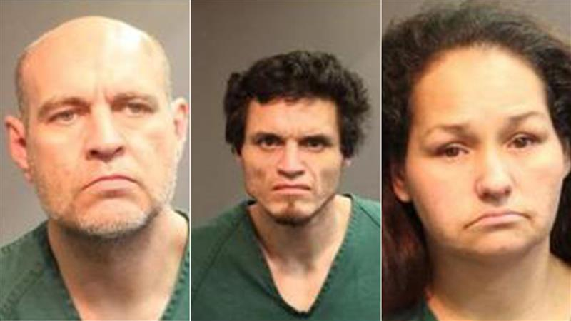 From left to right: Daniel Ruben Gallegos, 47; Gustavo Nunez, Jr., 32; and Lisa Marie Herrera, 41, appear in photos released by the Santa Ana Police Department on March 25, 2020.