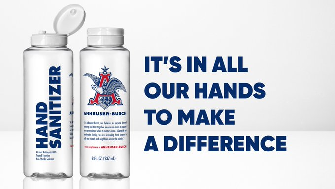 Hand sanitizer being made and distributed by Anheuser Busch is shown in a promotional photo provided by the company on March 25, 2020.
