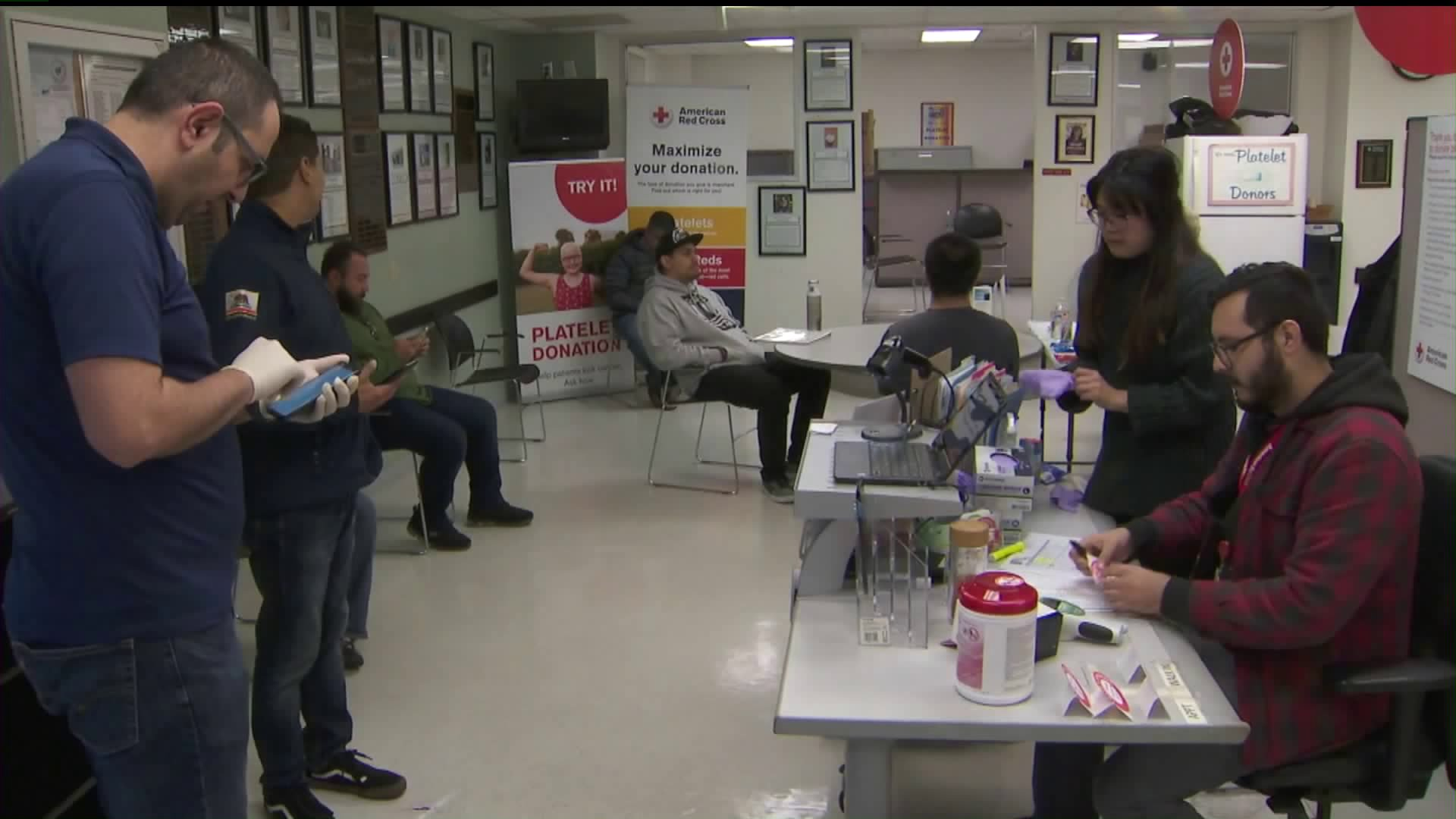 People donate blood at the American Red Cross in Pasadena on March 21, 2020. (Credit: KTLA)