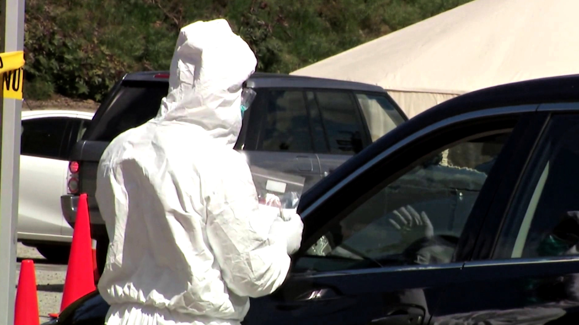 A drive-thru coronavirus testing site is seen outside Dodger Stadium on March 27, 2020. (KTLA)
