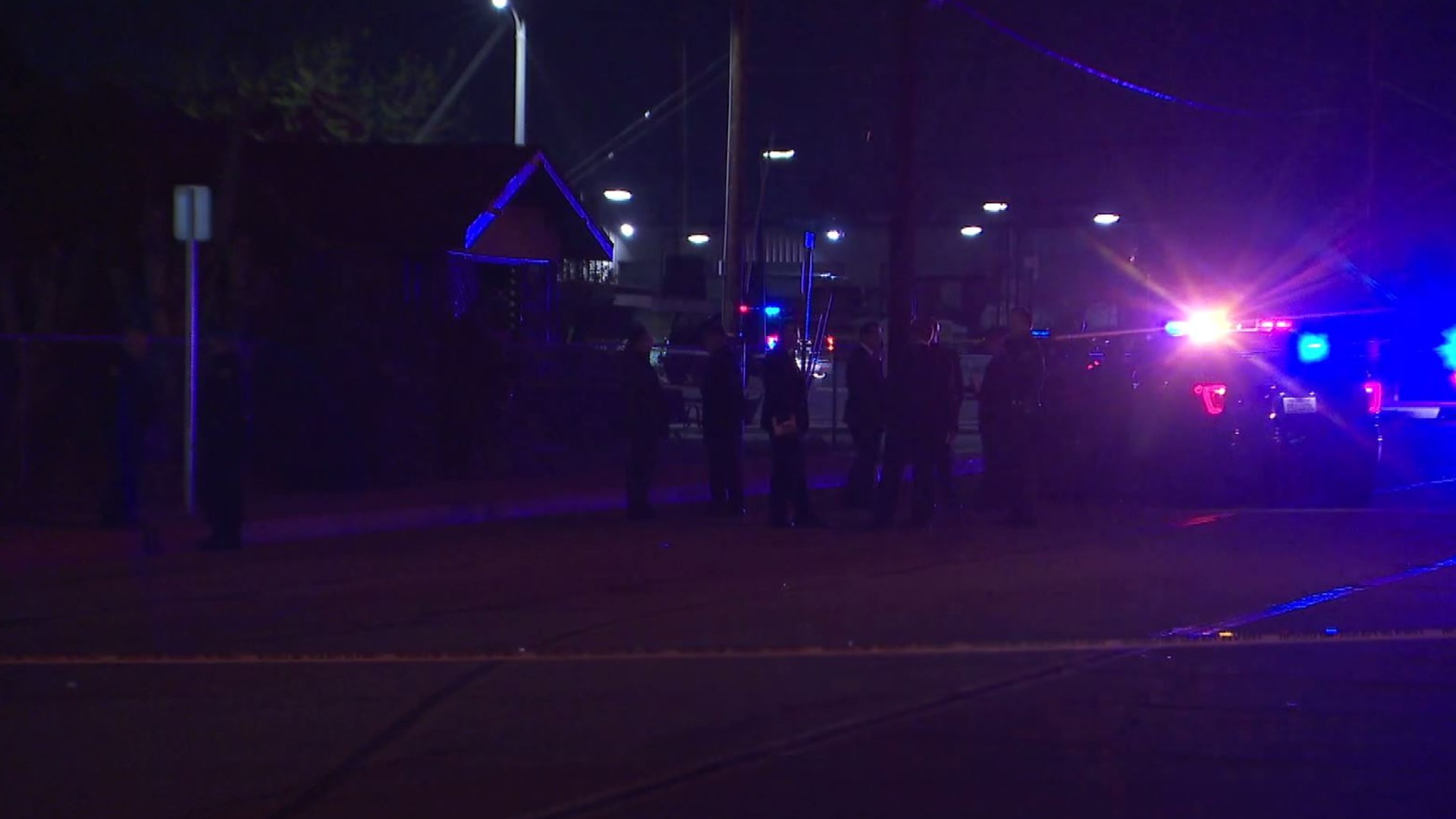 Authorities investigate a deadly police shooting at Reservoir and 3rd streets in Pomona on March 30, 2020. (KTLA)