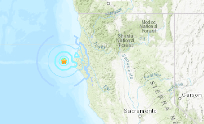 The location of magnitude 4.8 earthquake that struck March 22, 2020, off the coast of Northern California. (U.S. Geological Survey)