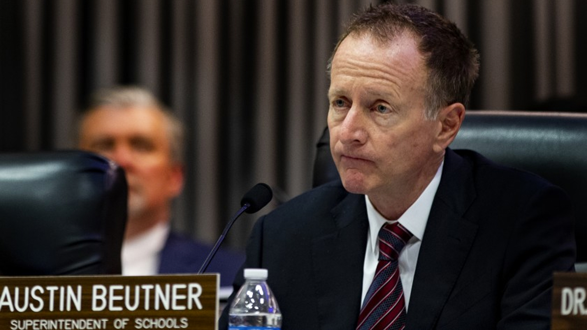 L.A. schools Supt. Austin Beutner provides a coronavirus update on Tuesday, just before the Board of Education votes to give him emergency powers to respond to the outbreak.(Gina Ferazzi/Gina Ferazzi/Los Angeles Times)