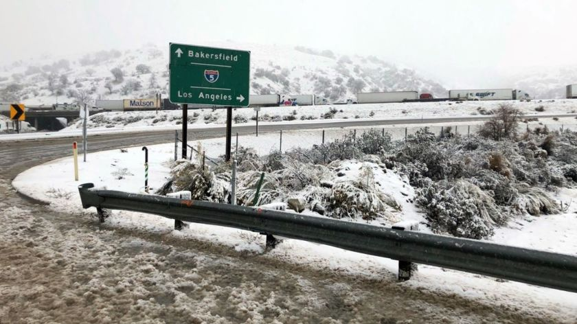 A ramp to the 5 Freeway is closed at the Tejon Pass in this Jan. 14, 2019 photo from Caltrans.