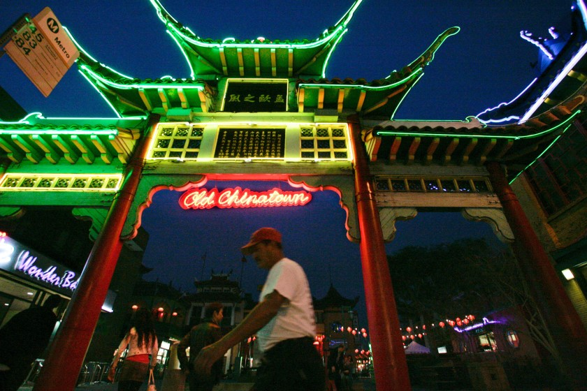 A man walks in Chinatown in Los Angeles in this undated photo. (Mel Melcon / Los Angeles Times)