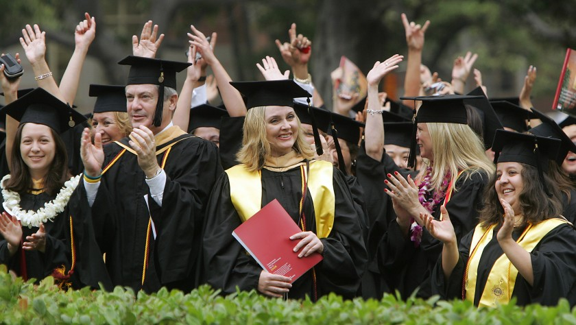 Graduates celebrate their accomplishments during USC's 125th commencement ceremonies in May of 2006.(Los Angeles Times)