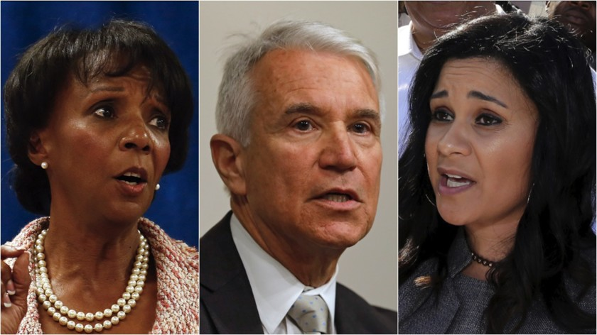 From left: Jackie Lacey, George Gascon and Rachel Rossi are candidates for the Los Angeles County District Attorney race. (Los Angeles Times)