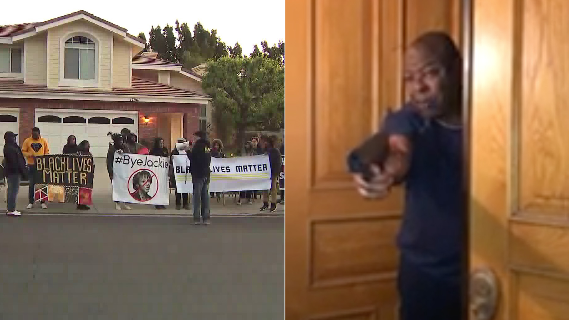 Black Lives Matter activists, left, rally outside Los Angeles County District Attorney Jackie Lacey's home in Granada Hills. On the right, a man holds up a gun while standing at the front door of the home. (KTLA; Melina Abdullah)