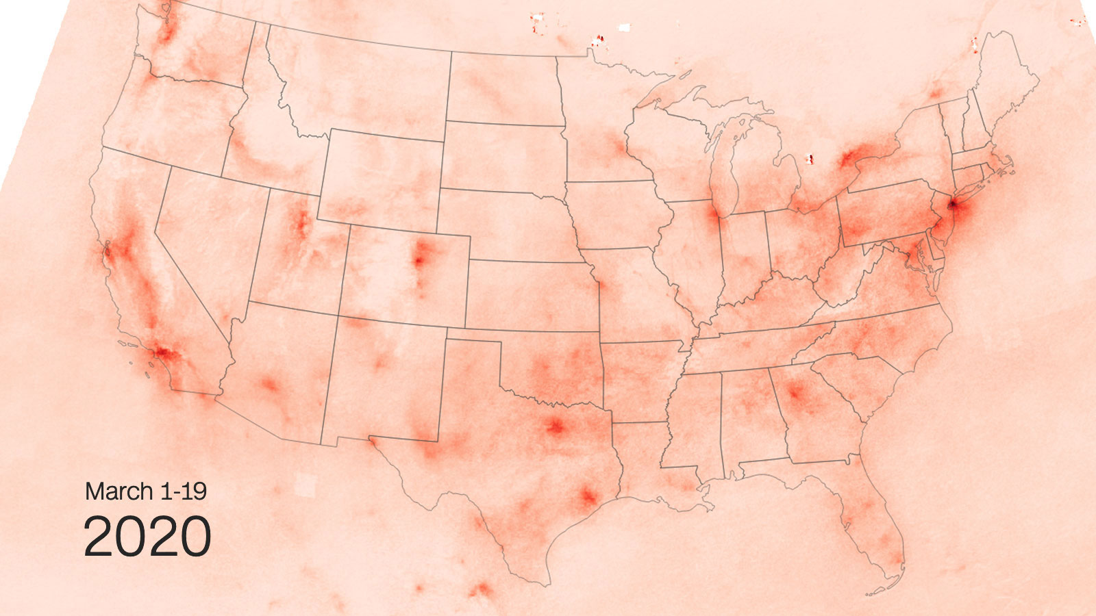 Images taken over the first three weeks of March show less nitrogen dioxide over parts of the United States than the same time last year. (CNN)