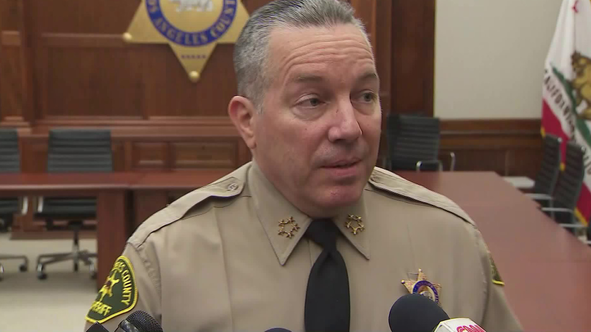 Los Angeles County Sheriff Alex Villanueva speaks to reporters on March 3, 2020. (KTLA)