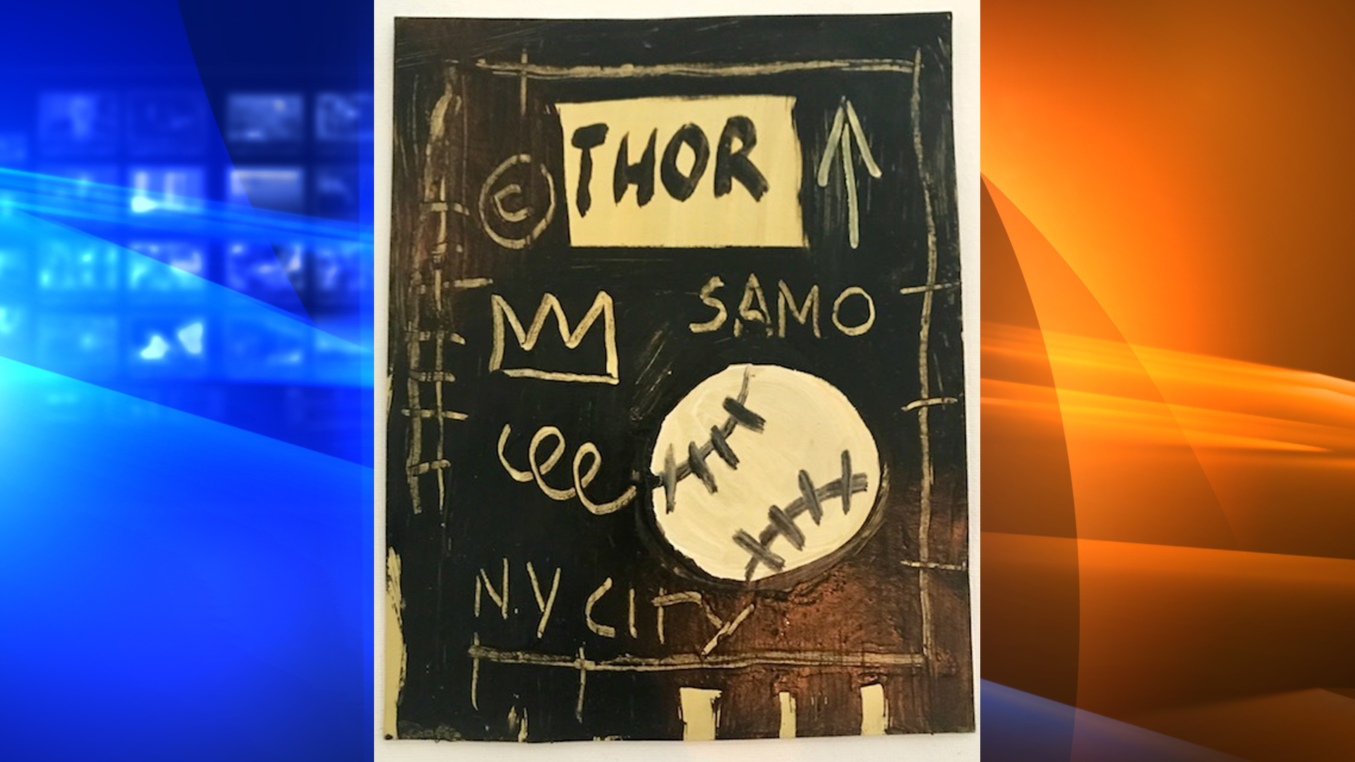 A fake Jean-Michel Basquiat painting sold by Philip Righter is shown in a photo released by the U.S. District Court for the Central District of California on March 10, 2020.