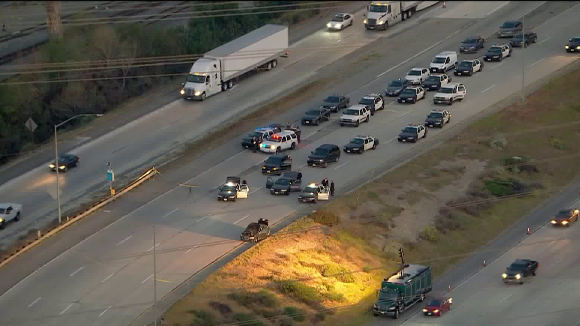 Authorities on March 6, 2020, continue to investigate a pursuit that ended in Sylmar the night before. (KTLA)