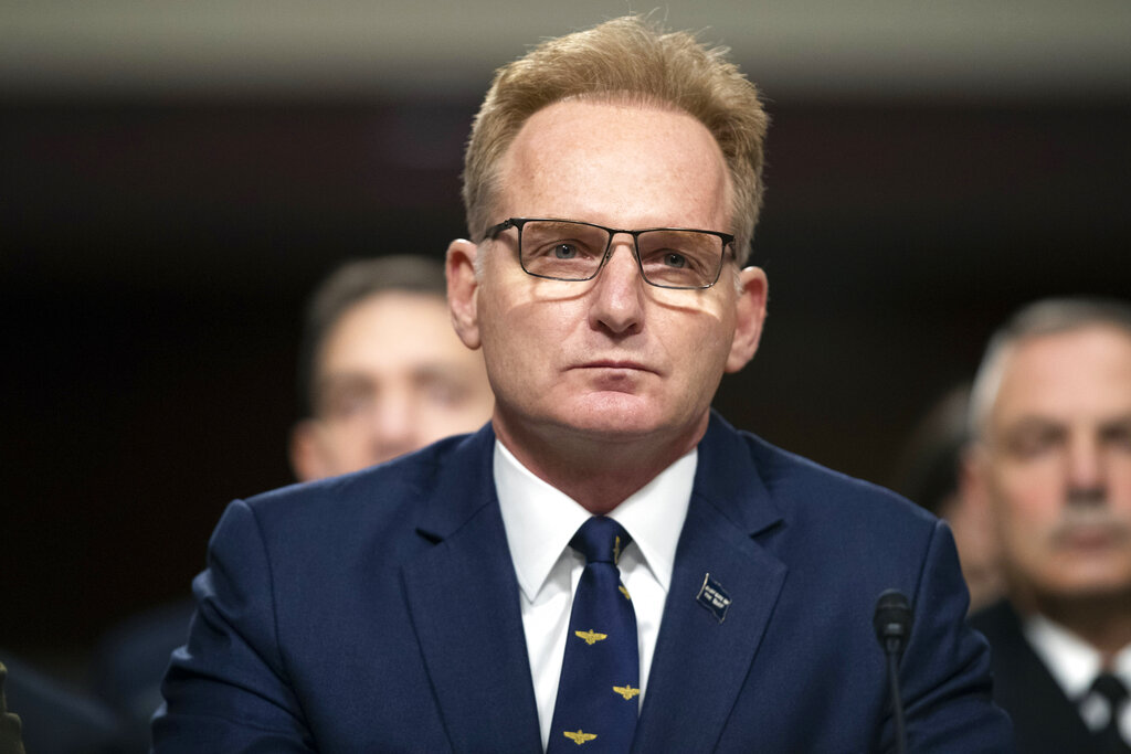 In this Dec. 3, 2019, file photo, acting Navy Secretary Thomas Modly testifies during a hearing of the Senate Armed Services Committee about about ongoing reports of substandard housing conditions in Washington. (Alex Brandon/Associated Press)