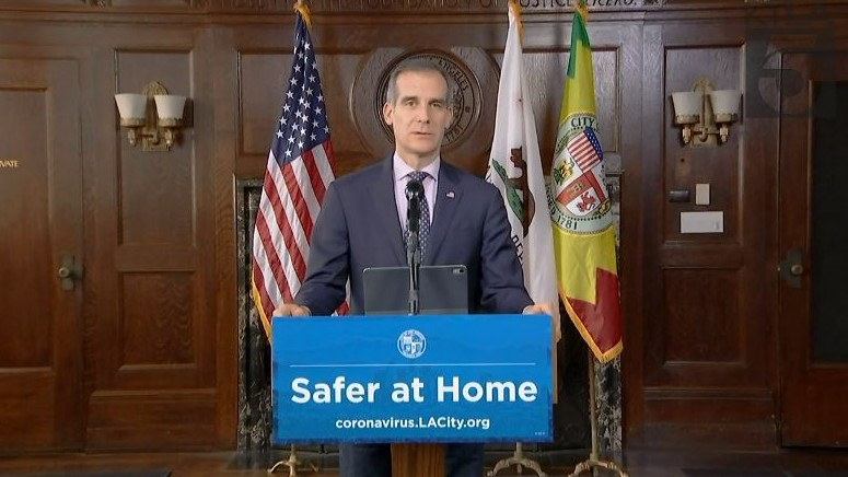 Los Angeles Mayor Eric Garcetti provides an update on the COVID-19 pandemic on April 29, 2020. (KTLA)