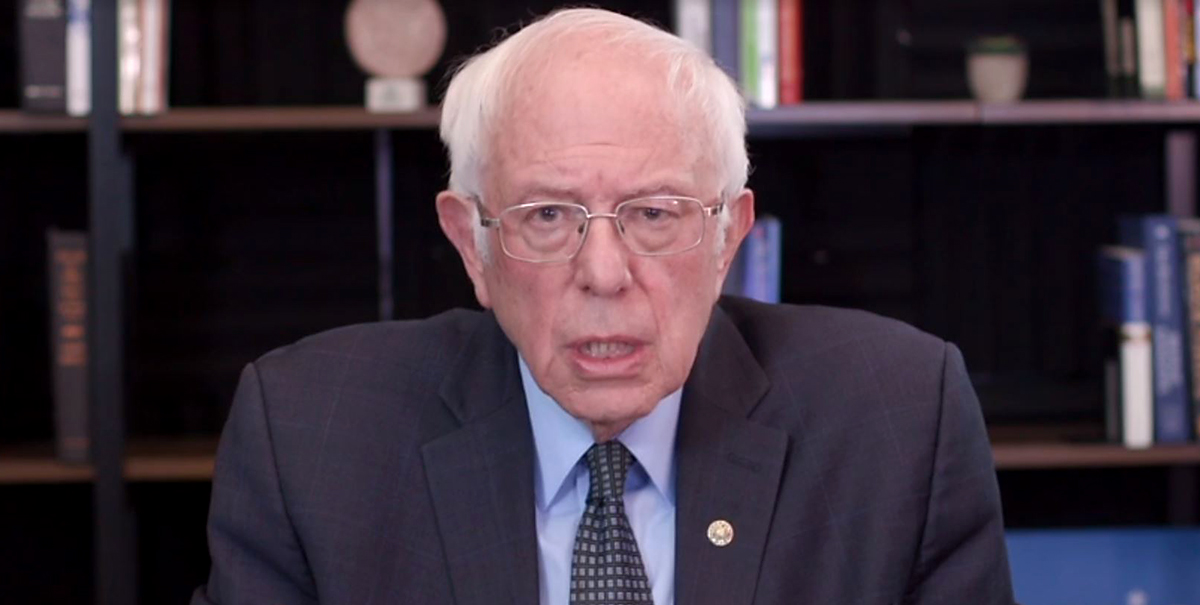 In this screengrab taken from a webcast, Democratic presidential candidate Sen. Bernie Sanders (I-VT) talks about his plan to deal with the coronavirus pandemic on March 17, 2020 in Washington, D.C. (berniesanders.com via Getty Images)