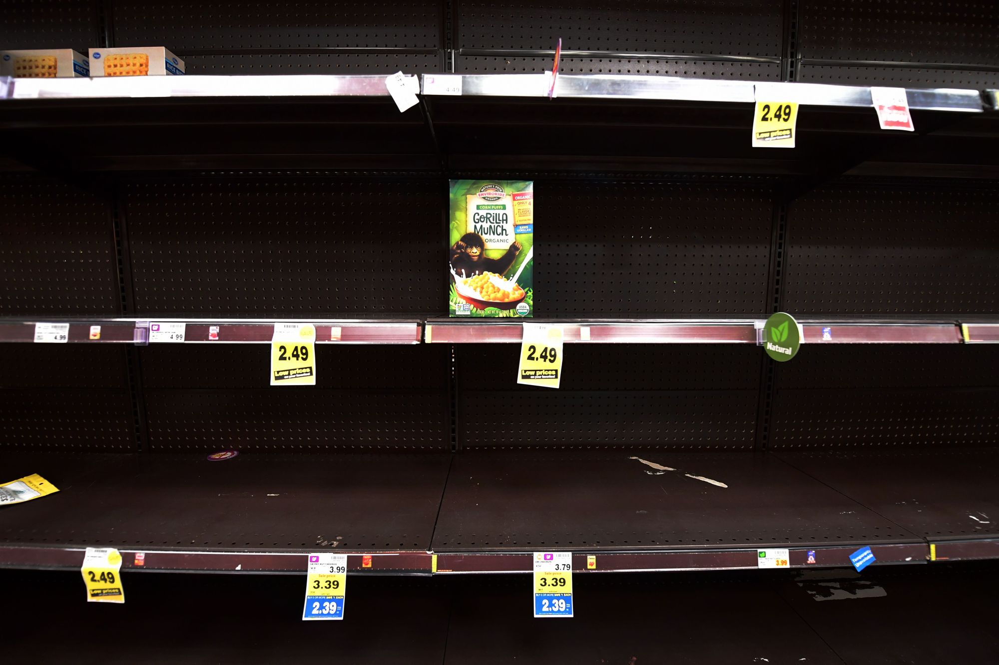 A lone box of breakfast cereal remains on the shelf at a Ralph's Supermarket in North Hollywood on March 19, 2020, as people continue shopping for more food and household products amid the coronavirus epidemic. (Frederic J. BROWN / AFP via Getty Images)