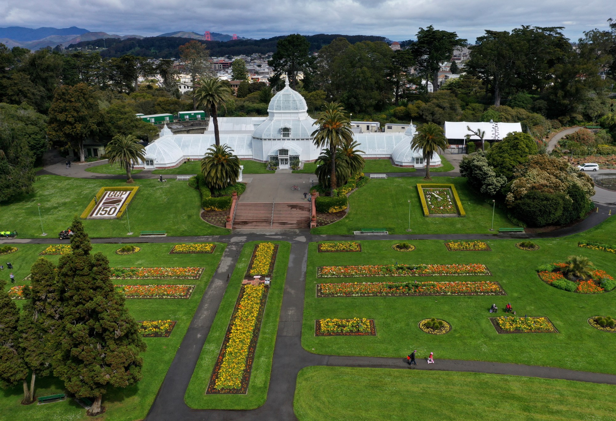 An aerial drone view of the nearly empty grounds of the Conservatory of Flowers in Golden Gate Park on March 30, 2020, in San Francisco. (Justin Sullivan/Getty Images)