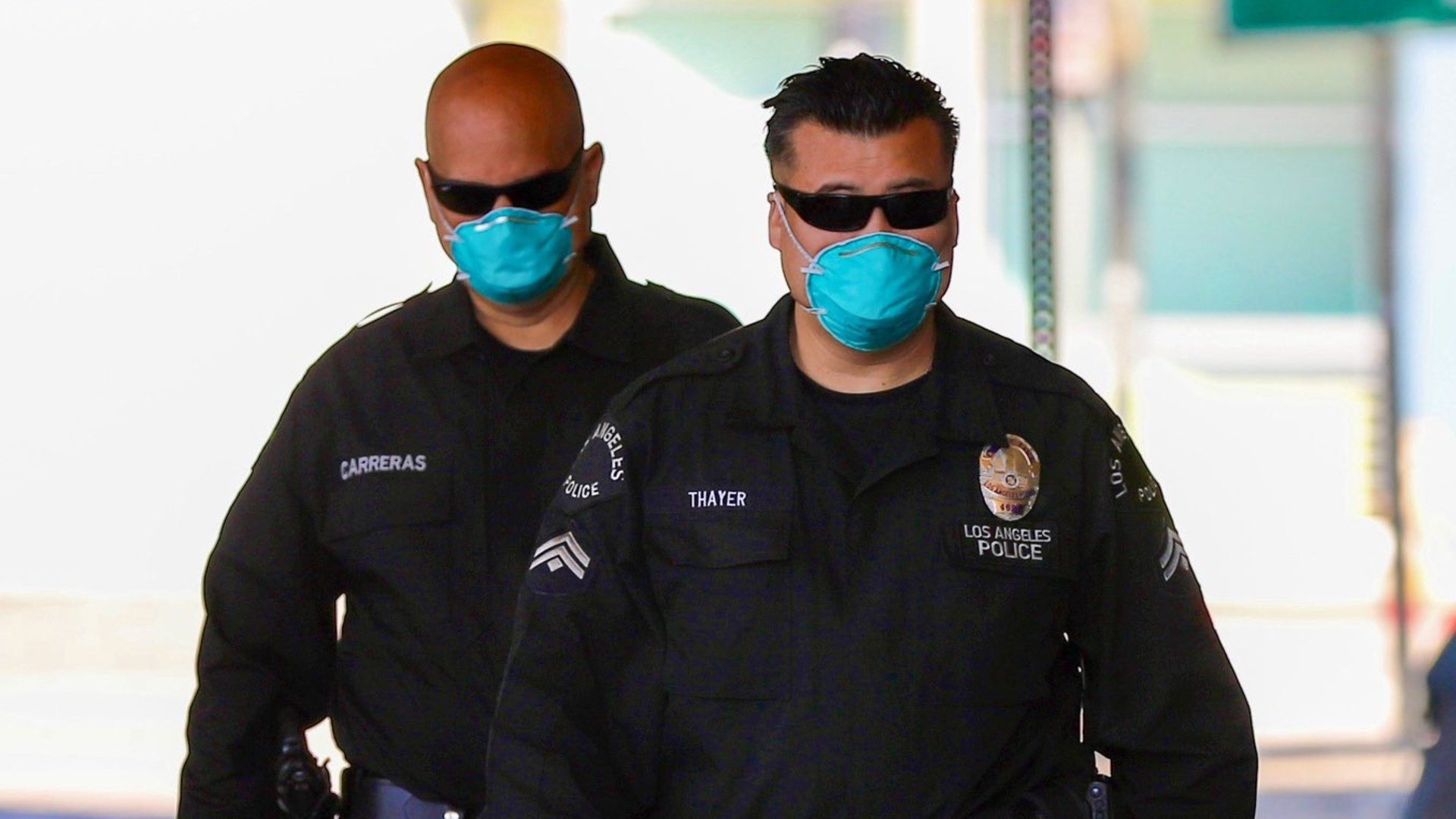 Los Angeles Police Department officers are pictured wearing face masks on April 2, 2020. (LAPD)
