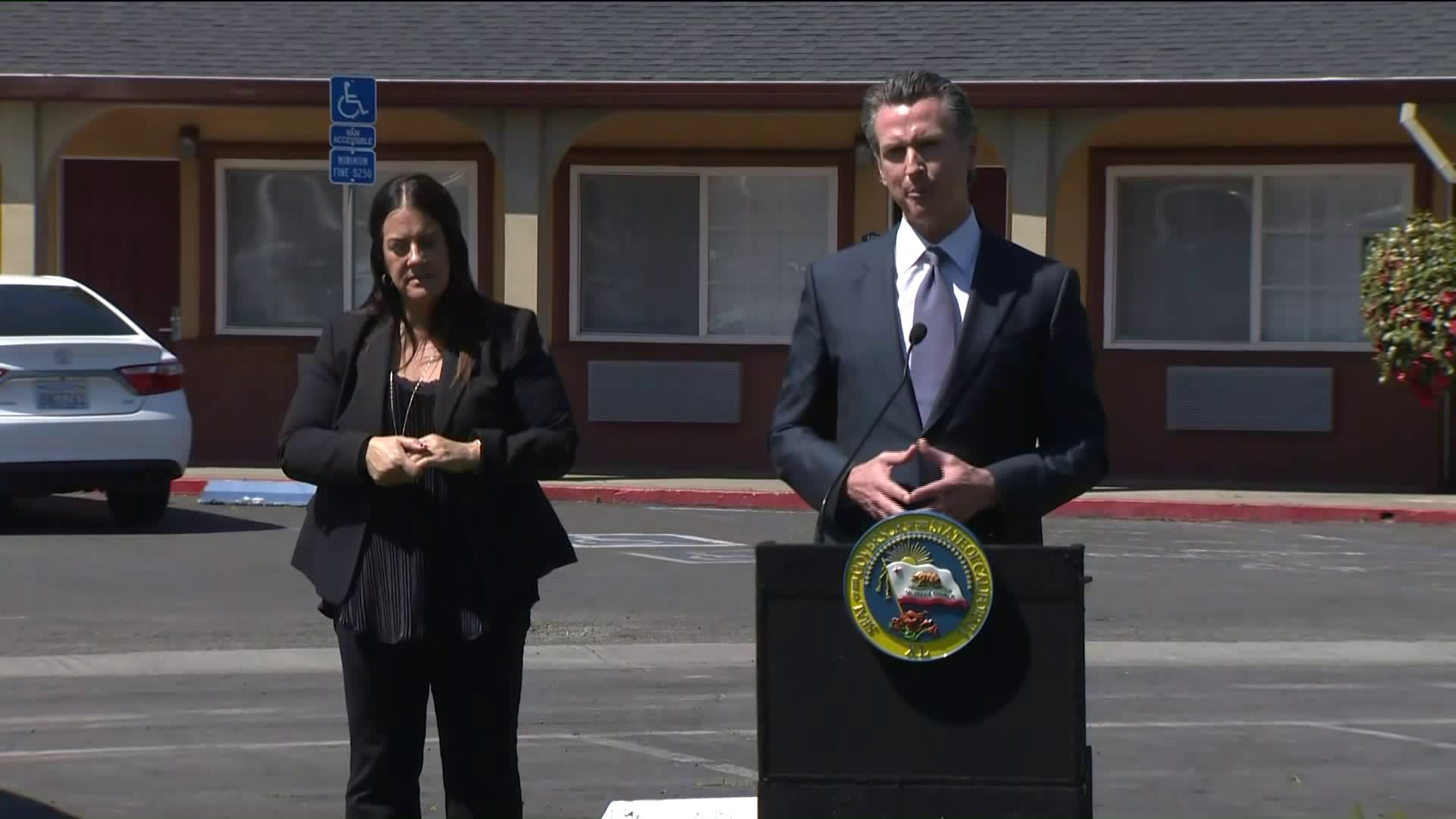 Gov. Gavin Newsom speaks at a news conference in Sacramento on April 3, 2020. (Pool)
