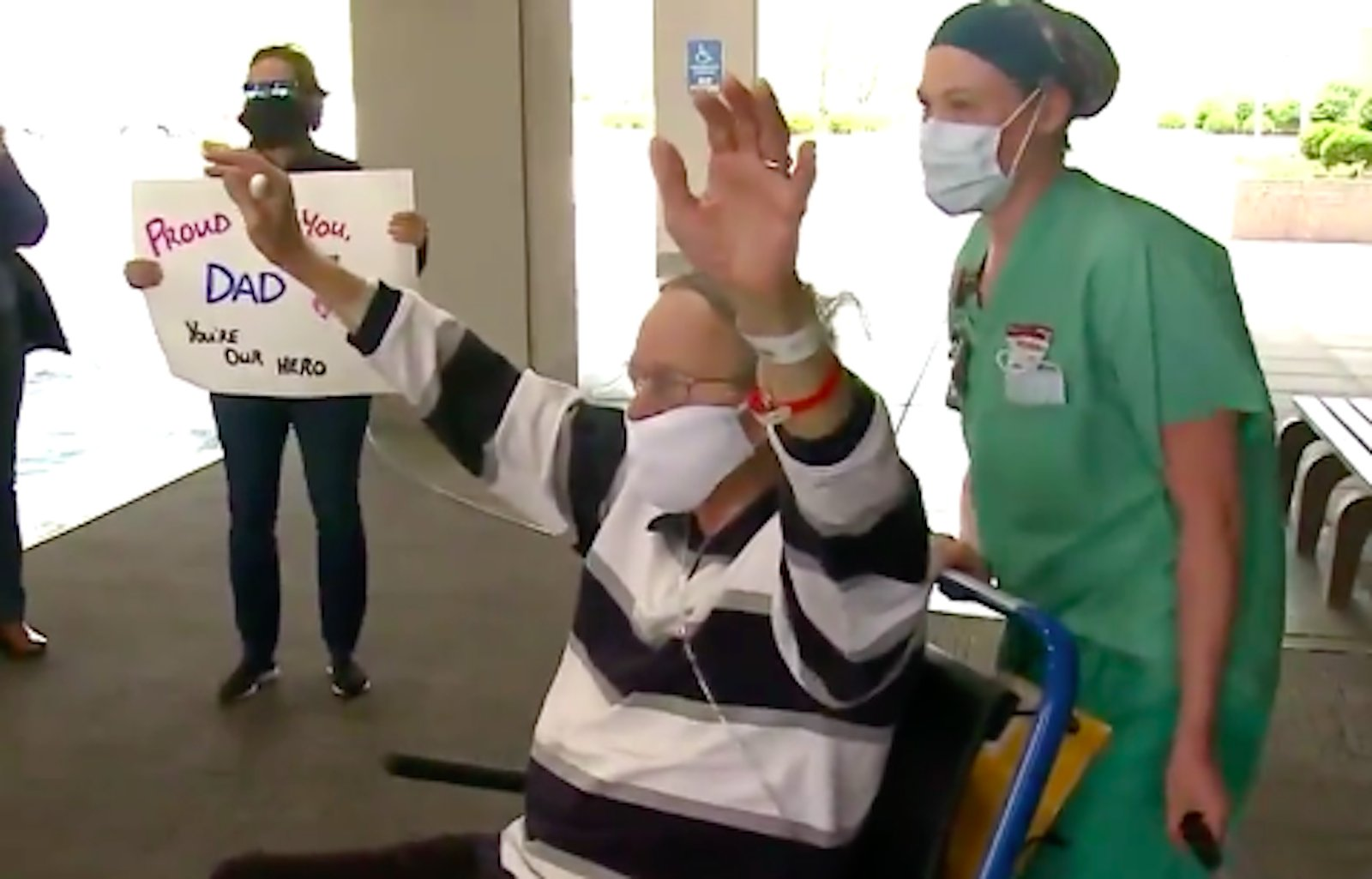 Staff members at St. Luke's Hospital in St. Louis County, Missouri lined a hallway and clapped for 87-year old Don Lochmoeller as he was discharged April 9, 2020. (KMOV via CNN)