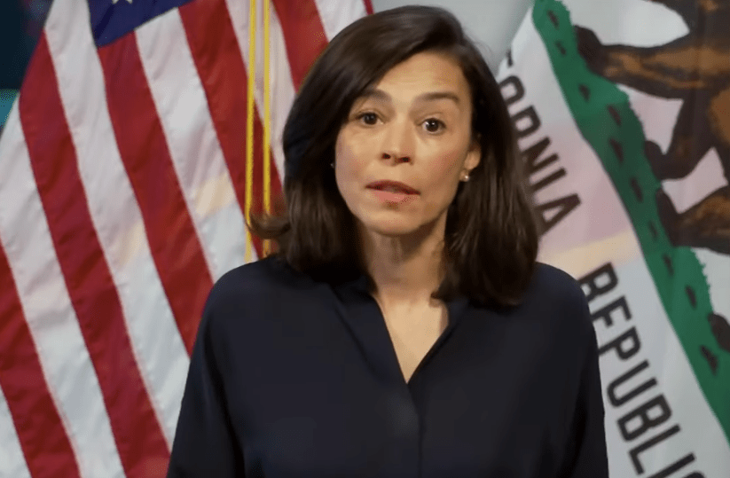 Dr. Sonia Y. Angell, California Department of Public Health director and state health officer, discusses COVID-19 guidelines on facial coverings on April 1, 2020. (KTLA)