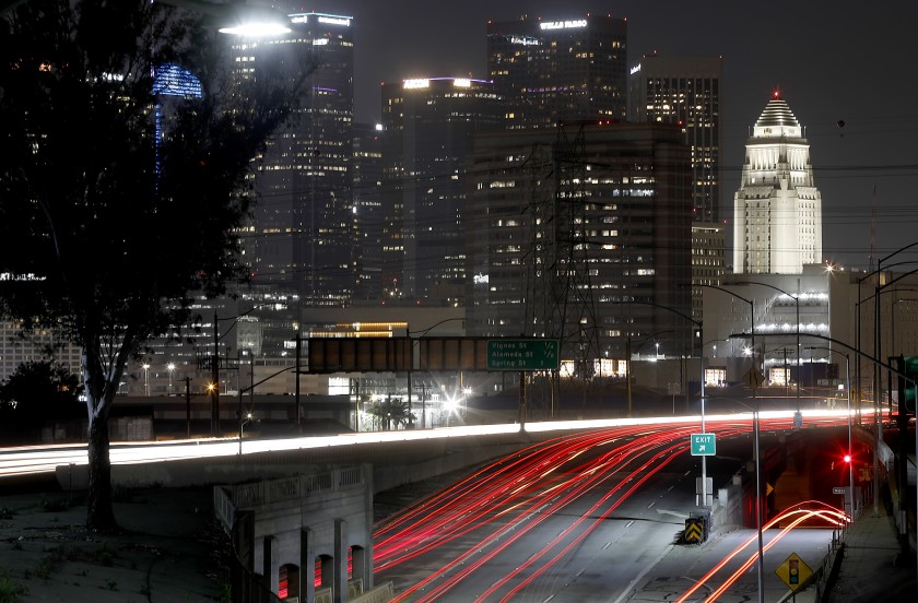 Traffic is light on the 101 and Interstate 10 Freeway interchange in downtown Los Angeles in this undated photo as much of California remains on coronavirus lockdown.(Luis Sinco / Los Angeles Times)