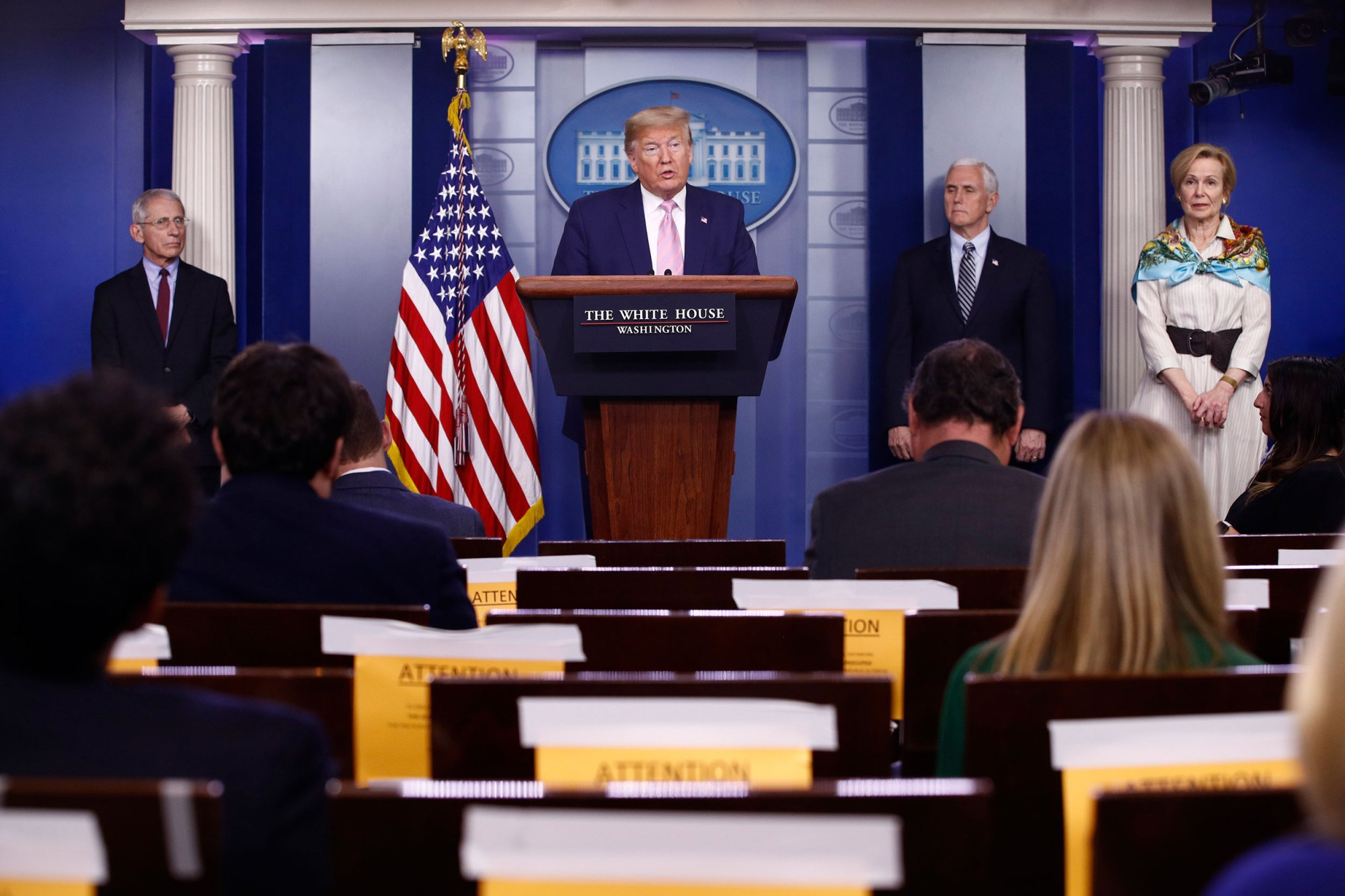 President Donald Trump speaks during a coronavirus task force briefing at the White House, Saturday, April 4, 2020, in Washington. President Donald Trump said he is considering a second coronavirus task force focused on reopening the country's economy. (Patrick Semansky/AP)