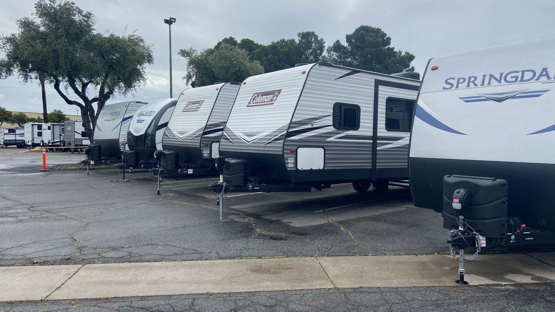 The City of Riverside provided this photo on April 8, 2020, of 15 trailers from the State of California to provide safe isolation housing for individuals experiencing homelessness who have the symptoms of COVID-19.