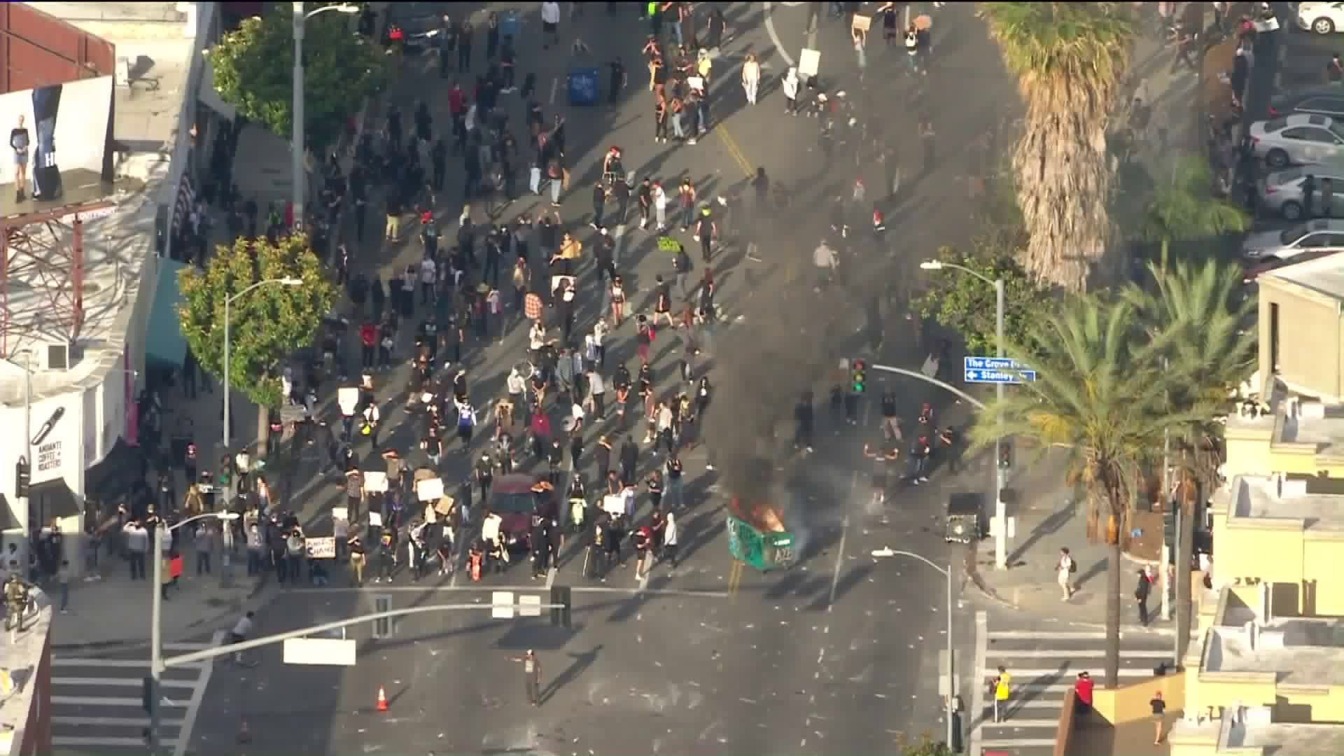 Protesters gather in Los Angeles' Fairfax District on May 30, 2020. (KTLA)